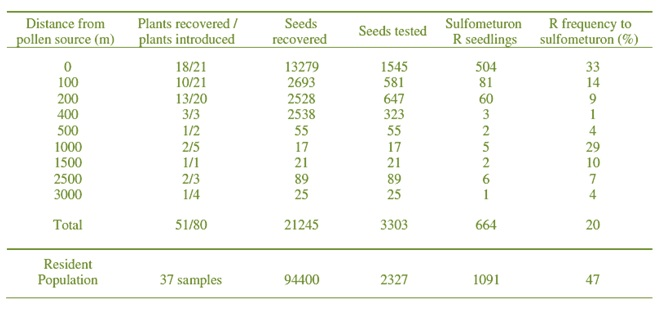 Table showing results of study conducted by AHRI's Dr Roberto Busi and others (September 2005)