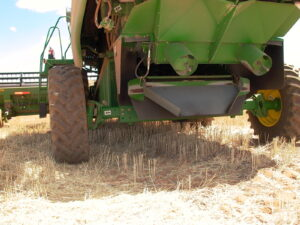 Home made windrow chute fitted to John Deere Harvester