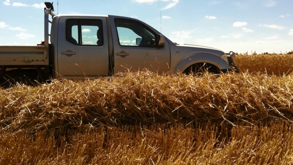 Big windrow in front of ute